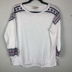 Loft white embroidered long sleeve medium D14